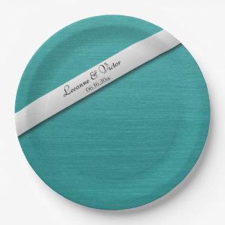 Teal Blue Wedding Bells Personalized Paper Plate