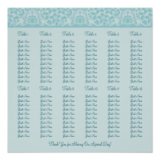 Teal Blue Wedding Reception Seating Chart - Square Poster