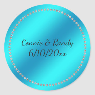Teal Blue Wedding Sticker