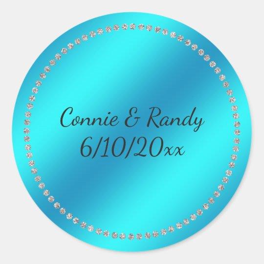 Teal Blue Wedding Sticker