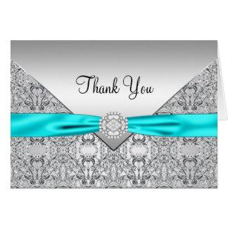 Teal Blue Wedding Thank You Card