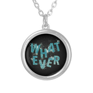 Teal Blue Whatever Silver Plated Necklace