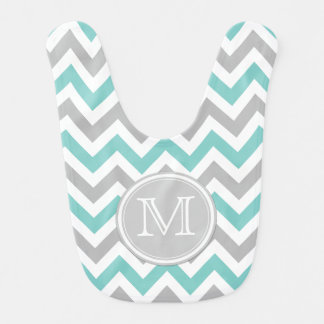 Teal Blue, White and Gray Chevron Pattern Bib