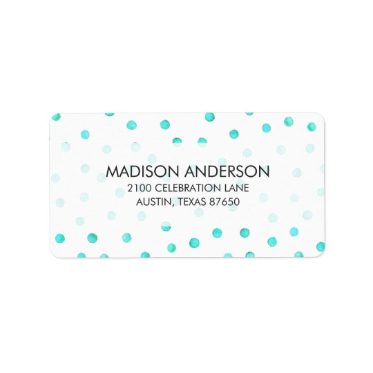 Teal Blue White Confetti Dots Pattern