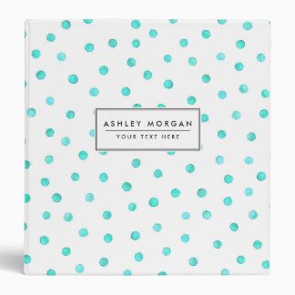 Teal Blue White Confetti Dots Pattern Binder