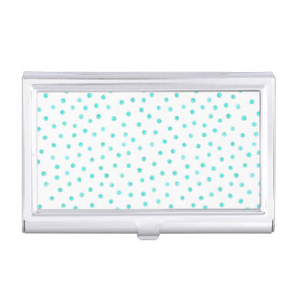 Teal Blue White Confetti Dots Pattern Business Card Holder