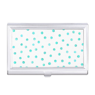 Teal Blue White Confetti Dots Pattern Business Card Holders
