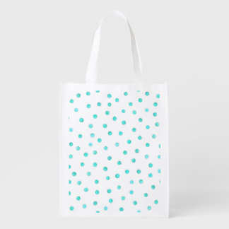 Teal Blue White Confetti Dots Pattern Grocery Bag