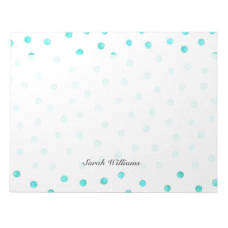Teal Blue White Confetti Dots Pattern Notepad