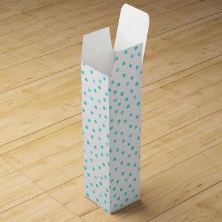 Teal Blue White Confetti Dots Pattern Wine Box