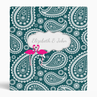 Teal Blue White Paisley-Flamingos-Personalized Vinyl Binder