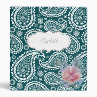 Teal Blue White Paisley-Flower-Personalized Vinyl Binder