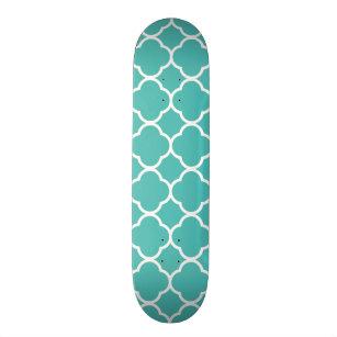 Teal Blue White Quatrefoil Patterns Lattice Trendy Skateboard