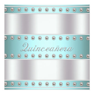 Teal Blue White Quinceanera Personalized Invite