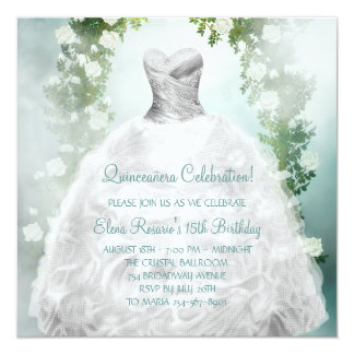 Teal Blue White Roses Quinceanera Invitations