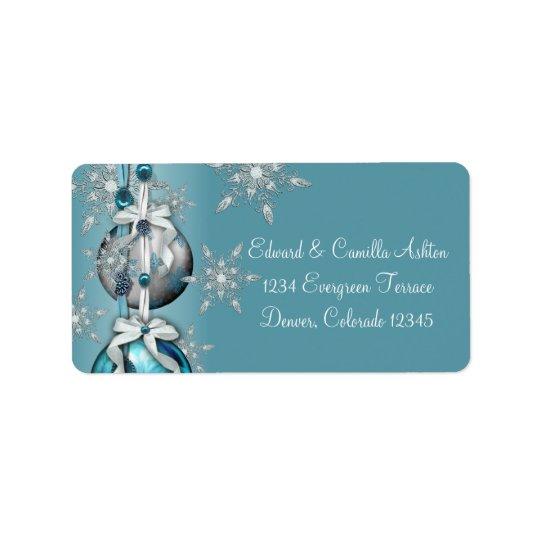 Teal Blue White Snowflakes Blue Christmas Address
