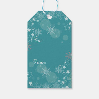 Teal Blue White Snowflakes Gift Tags