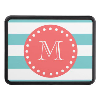 Teal Blue White Stripes Pattern, Coral Monogram Hitch Covers