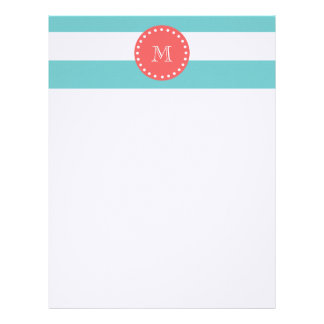 Teal Blue White Stripes Pattern, Coral Monogram Letterhead