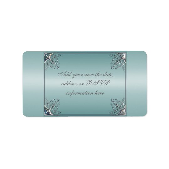 Teal Blue White Wedding Invitations Label