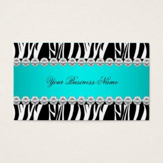 Teal Blue Wild Zebra Black Diamond Look Image Business Card