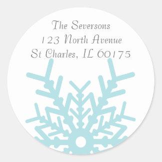 Teal Blue Winter Snowflake on White Return Address Round Sticker