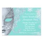 Teal Blue Winter Wonderland Masquerade Party Card