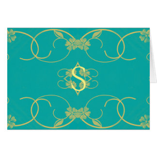 teal blue/Yellow floral Scroll Initial blank card