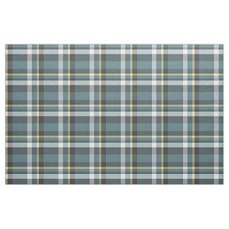 Teal Blue Yellow White Gray Tartan Square Pattern Fabric