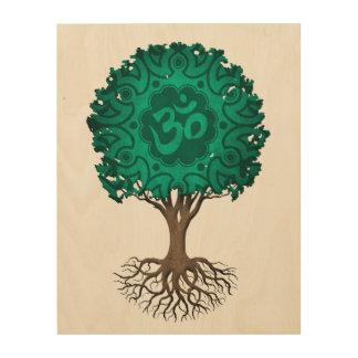 Teal Blue Yoga Om Tree of Life Wood Canvas