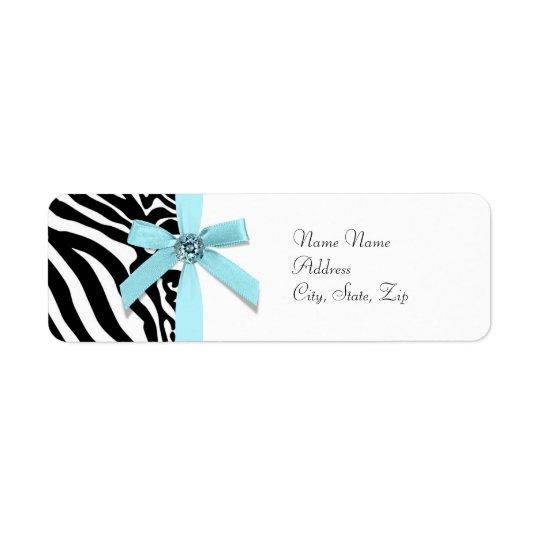 Teal Blue Zebra Address Labels