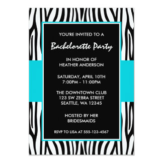Teal Blue Zebra Bachelorette Party Invitations