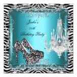 Teal Blue Zebra Leopard Print Party Shoes