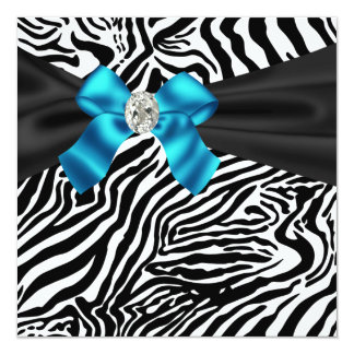 Teal Blue Zebra Party Invitation
