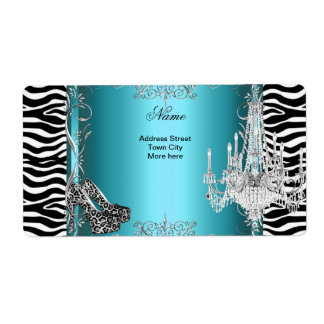 Teal Blue Zebra Print Party Shoes Chandelier