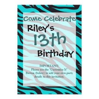 Teal Blue Zebra Stripes Wild Animal Prints Novelty Personalized Invitation