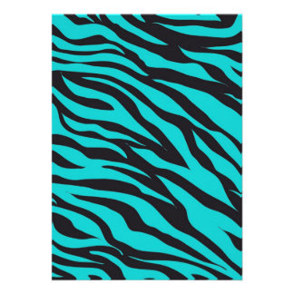 Teal Blue Zebra Stripes Wild Animal Prints Novelty Personalized Announcement