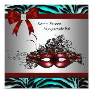 """Teal Blue Zebra Sweet 16 Masquerade Party 5.25"""" Square Invitation Card"""