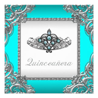 Teal Bluel Quinceanera Personalized Invite