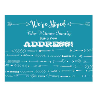 Teal BlueModern Arrows Doodles Moving Announcement Postcard