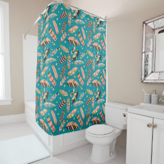 Teal Boho Feather Pattern