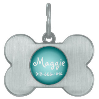 Teal Bone Shaped Customizable Name Dog Tag