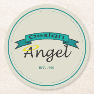 Teal Bordered Circle Logo Branded Paper Coasters