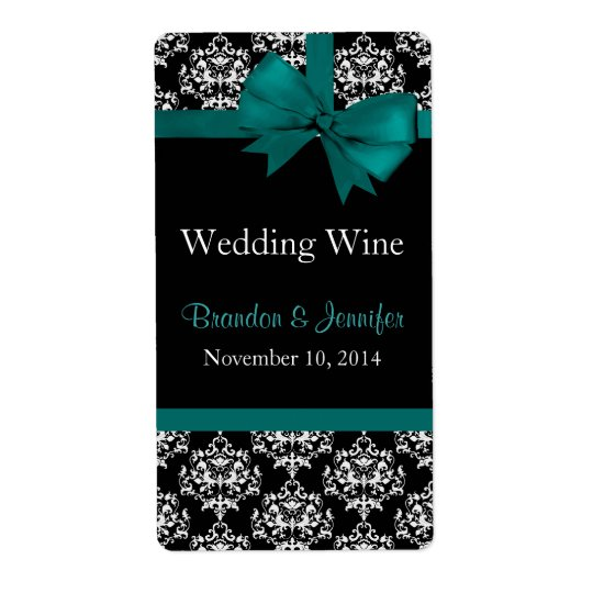 Teal Bow and Damask Wedding Mini Wine Labels