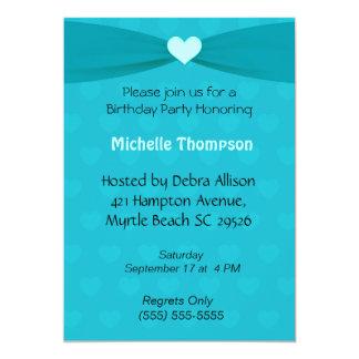Teal  Bow Hearts Birthday Invitation