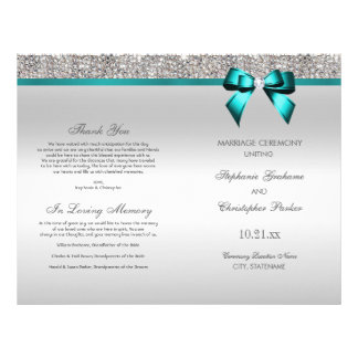 Teal Bow Silver Sequins Wedding Ceremony Program Flyer