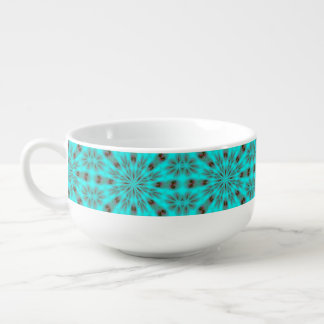 Teal Bright Burst Soup Bowl With Handle