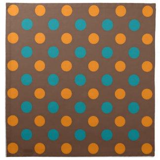 Teal, Brown, and Orange Polka Dots Napkin