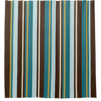 Teal, Brown, Beige and Gold Vertical Stripes