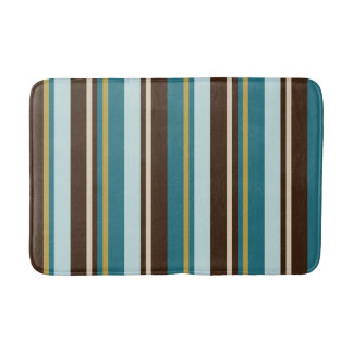 Teal Brown Beige Gold Vertical Stripes Bath Mat